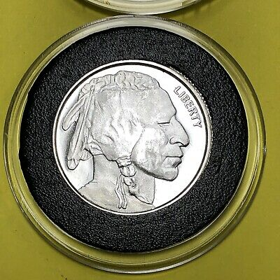 Indian Head Buffalo Bison 1/4 Oz Troy Oz .999 Fine Silver Medal Round Coin 999