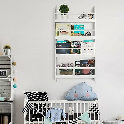 Kids Bedroom Wall Mounted Display Bookshelf Storage Unit Bookcase Rack White NEW