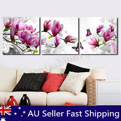 3Pcs Framed Flower Abstract Floral Picture Canvas Print Painting Home Wall Decor