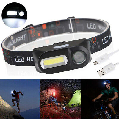 Mini COB LED USB Rechargeable Headlight Headlamp Flashlight W/ Adjustable Straps