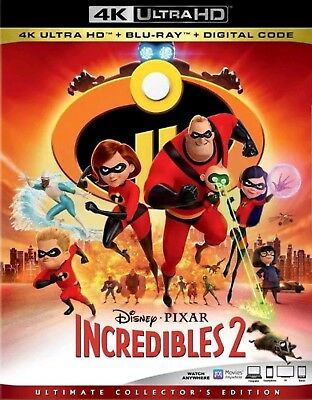 Disney Pixar Incredibles 2 (4K Ultra HD + Blu-ray + Digital) Free Shipping New