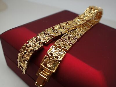14K 9K Yellow Gold Soild Diamond cut Band womens mens bracelet 20cm