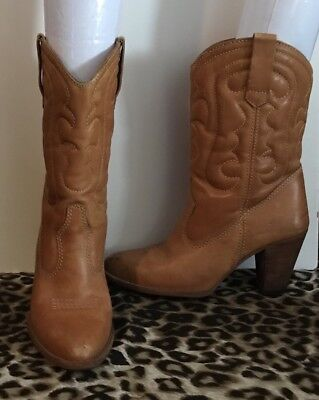 Vintage Tan Leather Boots - Made In Brazil - 7 7.5 - Embroidery