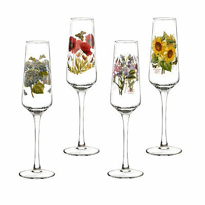 Portmeirion Botanic Garden Champagne Flutes Glasses Set of 4 Assorted Motifs