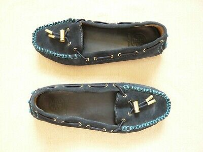 a3fc0f1ab5c Tory Burch ladies navy suede loafers moccasins car shoes Pebbled sole VGC  UK 5