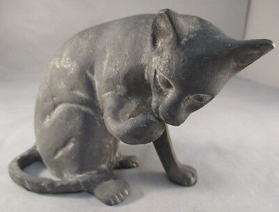 Heavy Metal Shabby Chic Sitting Cat Ornament Figurine Pewter Tone - Licking Paw