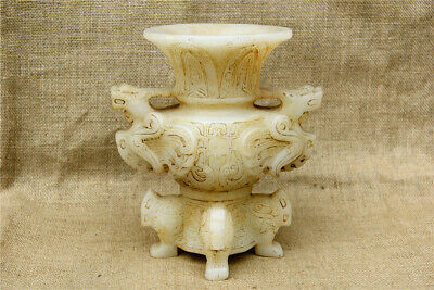 """8"""" China Asian antique Hand Carved old white jade double dragon vase pot"""