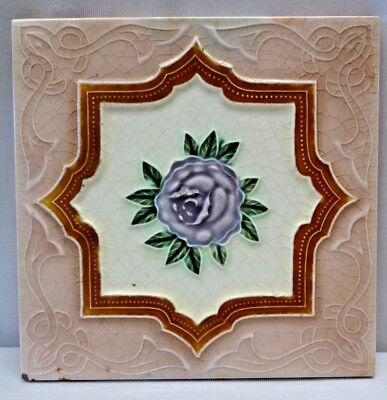 Tile Japan Art Nouveau Majolica Purple Rose Design Vintage Decorative Cerami#202
