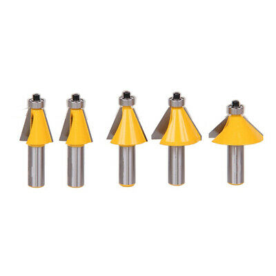 5X(5 Pc 1/2 Inch Shank Chamfer Router Bit Set 11.25Degree 15Degree 22.5Deg A5V5)