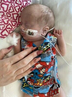 Superman print NICU incubator vest micro premature baby boy clothes personalized