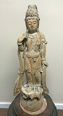 Large Impressive Old Chinese Carved Wood Statue of Standing Figure