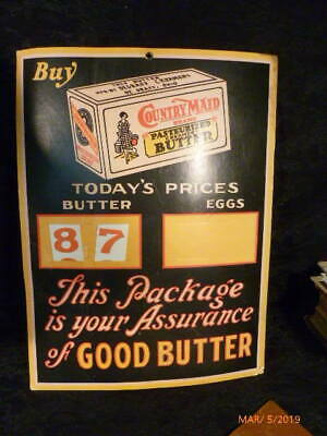 Country Maid Butter Degraff Creamery Ohio Changeable Cardboard Store Sign