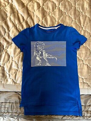 Next T Shirt Boys 140 Cms Or 10 Years, White Dinosaur Graphic On Bright Blue