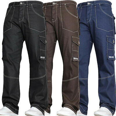 DENIM AND DYE Mens Stretch Combat Jeans  Cargo Work Pants Trousers Waist Sizes