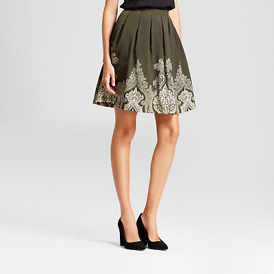 92204bf8f NEW! ISANI Women's Paisley Border Printed Skirt, Green - Size Large  -RETAILS $50