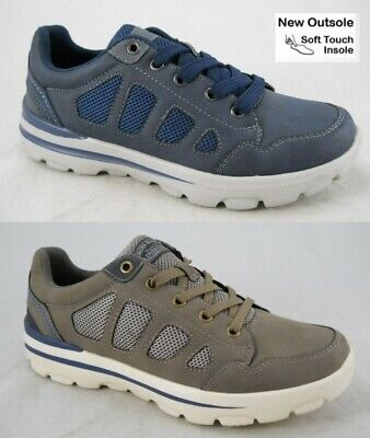 Mens Memory Foam Trainers Walk Pro Navy / Taupe Lace Up Shoes New UK Sizes 7-12