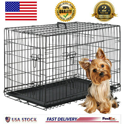2 Door Pet Cage Folding Dog w/Divider Cat Metal Crate Cage Kennel w/Tray Black