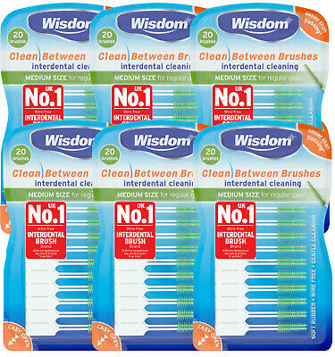 6 x Wisdom Clean Between Interdental Brushes - pack of 20 - size MEDIUM GREEN