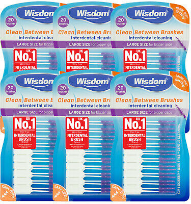 6 x Wisdom Clean Between Interdental Brushes - pack of 20 - size LARGE PURPLE