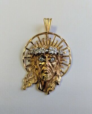 14kt Yellow Gold Vintage Jesus Head Pendant with .50Cttw Diamond Eyes and Crown