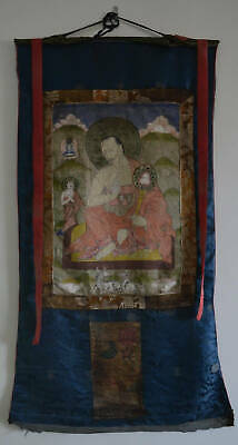 Old Bhutanese Tibetan Thangka Buddhist Monk Vintage Lama Antique Thangka