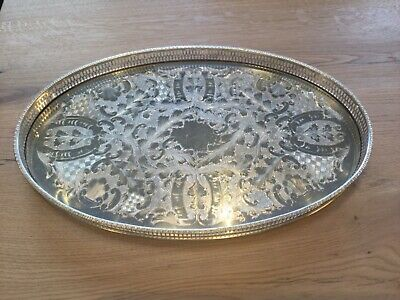 Vintage Viners of Sheffield Oval Silver Plate Gallery Tray