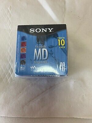 Sony Blank Mini Disc Recordable MD 80 Min Color Collection NEW 10 Pack