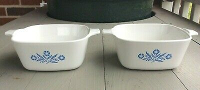 Set of 2 Corning Ware Cornflower Blue Petite Pan Casserole 2 3/4 Cup P-43-B