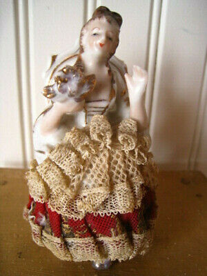 Antique Vintage Dresden Girl w Flowers Sitting on Chair Figurine 3.5""