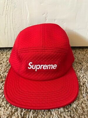 4fde1ba9 SUPREME RED MICRO Quilted Camp Hat 5 panel Box Logo Camp Cap ...
