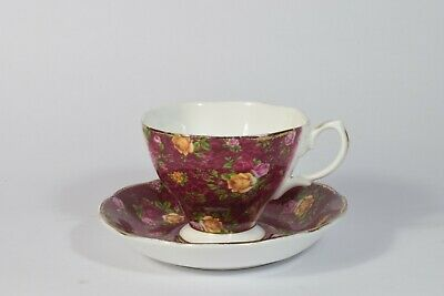 ROYAL ALBERT OLD COUNTRY ROSES - RUBY LACE TEA CUP & SAUCER  - Free P&P