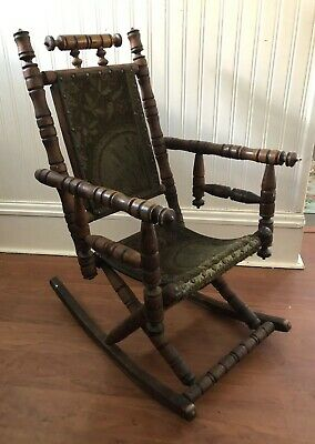 Antique 19 C. Child Doll Rocking Chair Carpet Rocker Eastlake Victorian Oak EUC