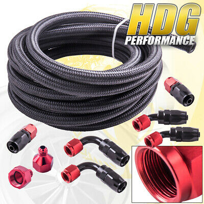 13Ft 6An Nylon Braided Fuel Line Fitting Adapter Kit W/ 8Pcs Red Swivel Hose End