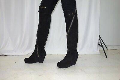 9d46a663e72 Rick Owens Black Suede Platform Wedge Knee High Boots Size 45
