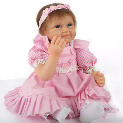 "Newborn 22"" Handmade Lifelike Baby Doll Reborn Silicone Vinyl Clothes Body Dolls"