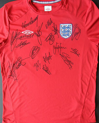 ENGLAND Multi Signed FOOTBALL SHIRT Rooney, Terry, Gerrard, Lampard, Cole, COA