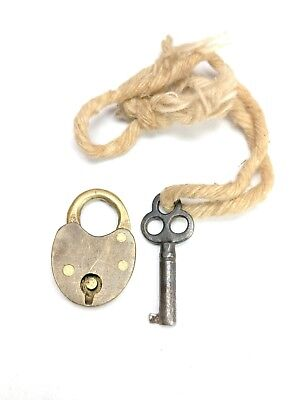 Antique Miniature Brass Padlock & Key Works! Mini Antique Heart Shaped Padlock