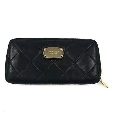 4caa9f95ac38 Michael Kors Women's Hamilton Continental Black Quilted Gold Zip Around  Wallet