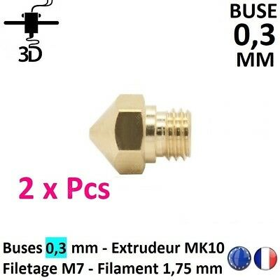 2 x Buse 0,3 mm Filetage M7 Extrudeur MK10 Filament 1.75mm Imprimante 3D Printer