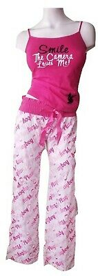 Playboy Pajamas Women's 2 Piece Cotton PJ Set Cami Tank Top Pink Ombre Print Med