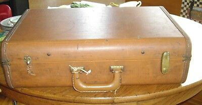 "Vintage Light Brown 14"" x 21"" Suitcase Luggage ~"