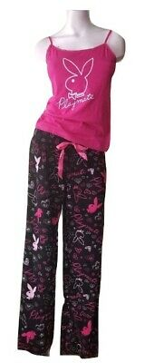 Playboy Pajamas Plus-Size 2 Piece Fleece PJ Set Cami Tank Top Black Pants Hearts