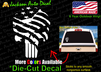 Punisher Skull USA Flag Patriot 2A Second Amendment Gun Car Window Decal Sticker