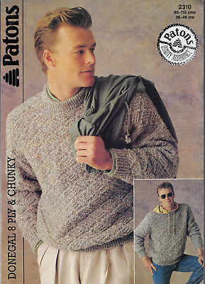 Men's Textured Sweater Patons 2310 knitting pattern DK 8 ply & chunky yarn
