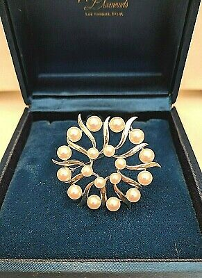 Mikimoto Sterling Silver Flower Pin / Brooch set with 18  White Akoya Pearls