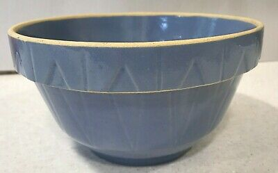 Watt Pottery Oven Ware Made In USA diamond Blue Bowl 8.5 across vintage number 8