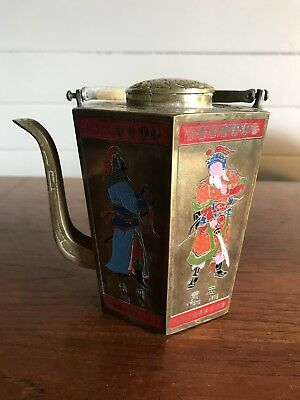 Vintage Brass Chinese Teapot Hexagonal Ancient Figures Made in Taiwan