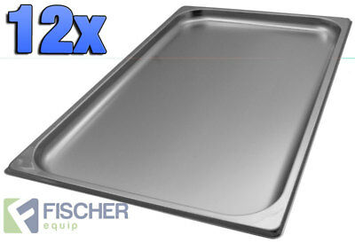 """BRAND NEW"" 12 PACK 1/1 STAINLESS STEEL GASTRONORM TRAYS 530mm x 325mm x 20mm"