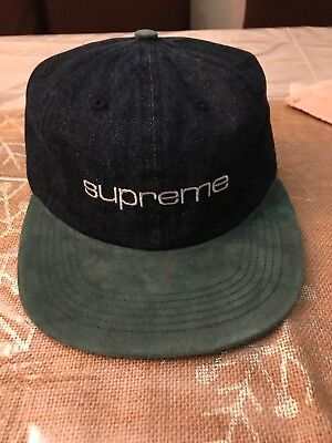 b2c698f1628 Bnwt Supreme Denim Suede Compact Logo 6-Panel Blue Green Ss18 2018 Box Logo  Hat