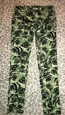 Girls 12 Green Black White Rose Design Simply Low Justice Jeggings Jean Leggings